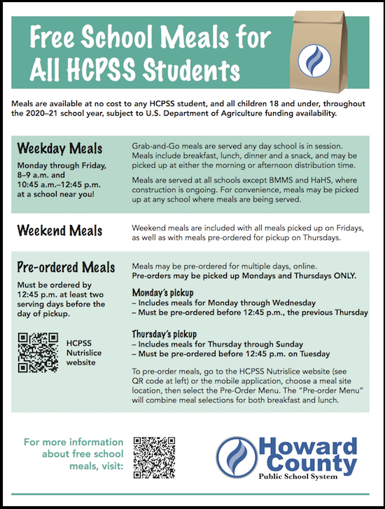 HCPSS flyer about free student meals